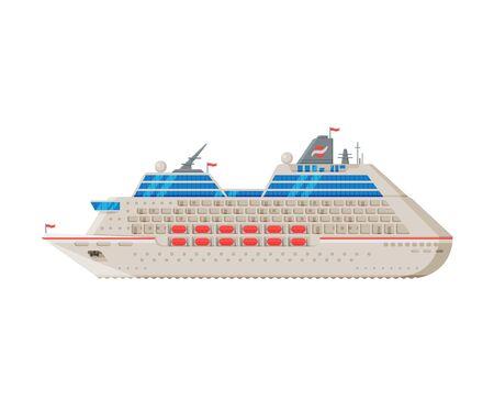Transatlantic Cruise Liner, Side View, Water Transport, Sea or Ocean Transportation Vector Illustration on White Background.