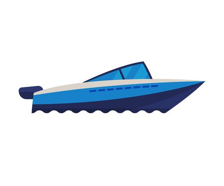 Modern Motor Boat, Water Transport, Sea or Ocean Transportation Vector Illustration