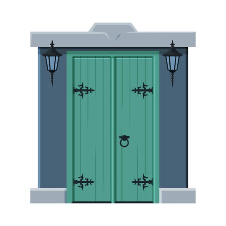 Old Double Green Door in Vintage Style, Architactural Design Element Vector Illustration on White Background. 矢量图像
