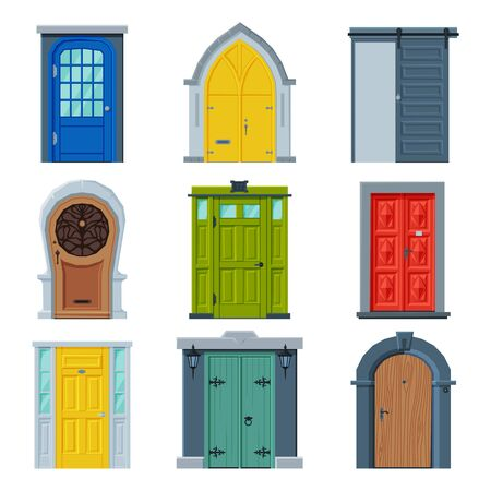 Doors in Vintage Style Collection, Facades and Apartments Architactural Design Elements Vector Illustration on White Background.