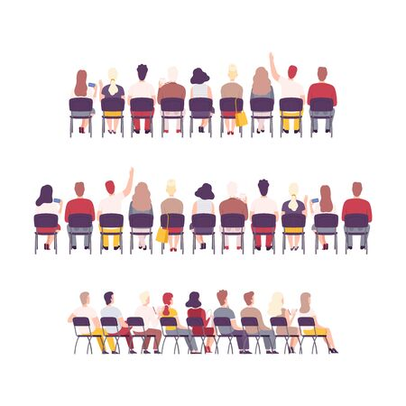 University or College Students Sitting on Chairs in Class, Back View of Young People Studying Together Flat Vector Illustration
