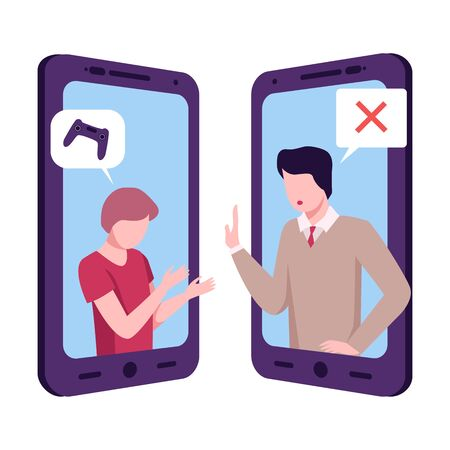 Psychologist Advising Man With Gambling Addiction Online, Mobile Chatting or Conversation of People via Smartphone, Text Bubbles on Screens of Two Mobile Phones Facing Each Other, Flat Vector Illustration Isolated on White Background