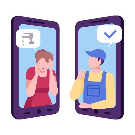 Plumber Consulting Woman Online, Mobile Chatting or Conversation of People via Smartphones, Text Bubbles on Screens of Two Mobile Phones Facing Each Other, Flat Vector Illustration Isolated on White Background