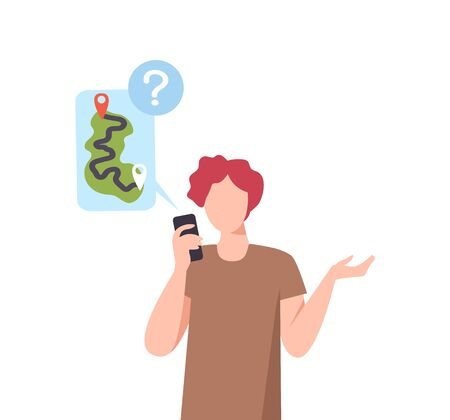 Man Using Smartphone for Navigation and Route Creation, GPS tracking on Mobile Phone, Social Distancing or Self Isolation Concept Flat Vector Illustration Isolated on White Background