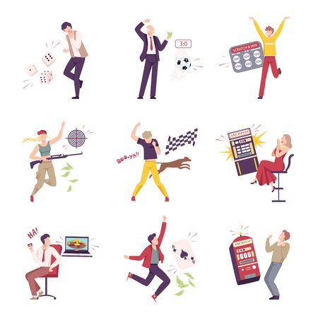 Lucky People Celebrating Their Win Set, Happy People Winning in Lottery, Casino Gambling and Betting Sport Flat Vector Illustration Çizim