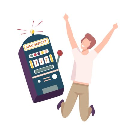 Young Man Celebrating Winning of Money on One Armed Bandit, Lucky Guy Won Money Prize in Casino Gamble Flat Vector Illustration