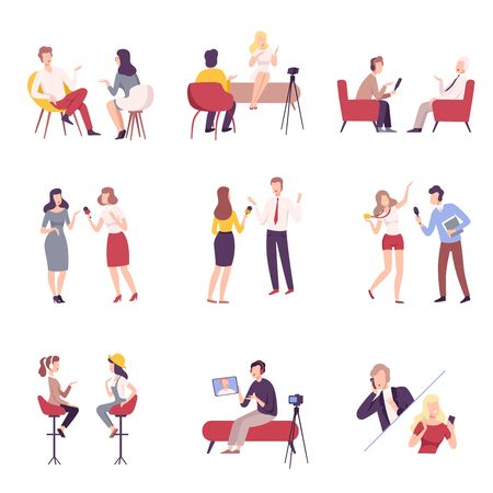 Journalists Interviewing Business People, Celebrities or Politicians Set, Communication, Business Meeting, Interviewing, Online Streaming Flat Vector Illustration Vectores
