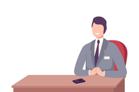 Smiling Businessman in Suit Sitting at the Desk Flat Vector Illustration Isolated on White Background Illustration