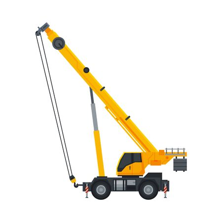 Crane Construction Machinery, Heavy Special Yellow Transport, Side View Flat Vector Illustration