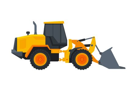 Bulldozer Construction Machinery, Heavy Special Transport, Service Vehicle, Side View Flat Vector Illustration Vecteurs