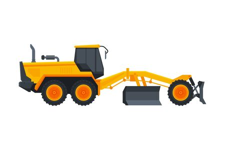 Bulldozer Heavy Grader Construction Machine, Special Transport, Side View Flat Vector Illustration Isolated on White Background