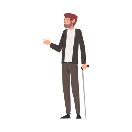 Disabled Young Man Standing with Walking Cane Vector Illustration
