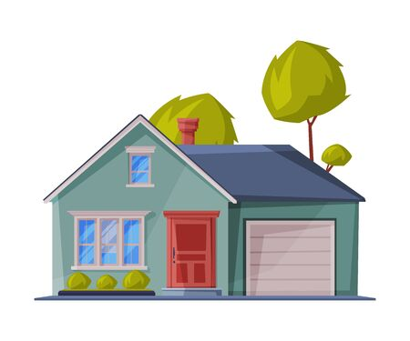 Green Small Cottage Facade with Garage, City or Country Street Building, Modern Residential House Real Estate Flat Vector Illustration