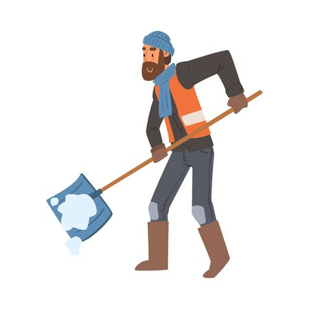 Man Janitor Cleaning Snow with Big Shovel Outdoors, Male Professional Cleaning Staff Character with Equipment Vector Illustration