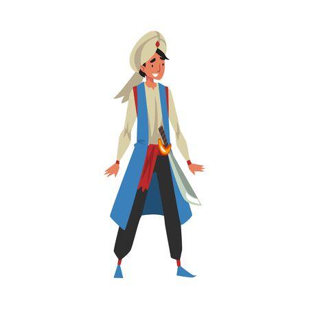 Aladdin, Arab Prince, Man in Oriental Costume, Arabian Fairy Tale Cartoon Character Vector Illustration