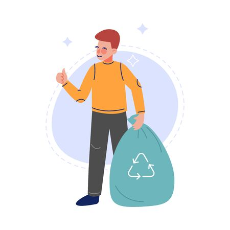 Boy Collecting Waste into Garbage Bag, Volunteer Saving and Protecting the Environment from Pollution Vector Illustration on White Background. Illustration