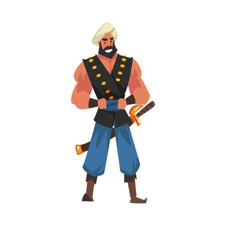 Muscular Armed Warrior, Arabian Fairy Tale Cartoon Character Vector Illustration Vektoros illusztráció