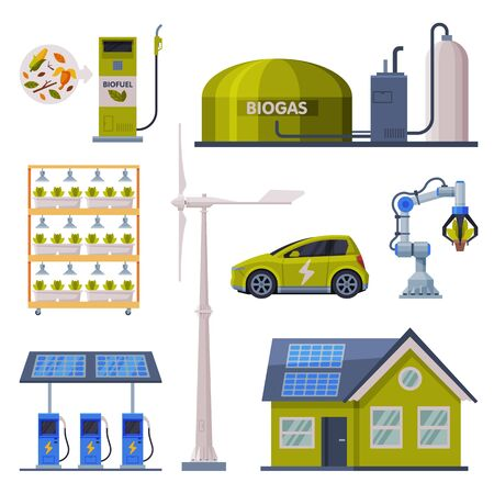 Eco Friendly Technologies Collection, Green Energy Production, Friendly Organic Farming and Ecological Transport, Alternative Power Flat Vector Illustration