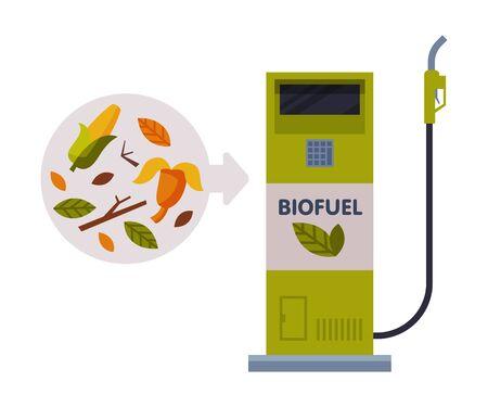 Biofuel Refill Station, Green Energy, Eco Transport Concept Flat Vector Illustration Stock Illustratie