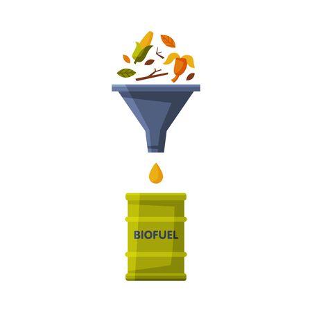 Biomass Proceeding at Biofuel, Green Energy, Alternative Power Flat Vector Illustration