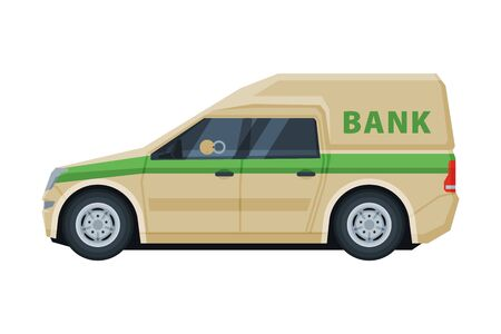 Armored Cash Car, Banking, Currency and Valuables Transportation, Bank Security Finance Service Vector Illustration on White Background. 向量圖像