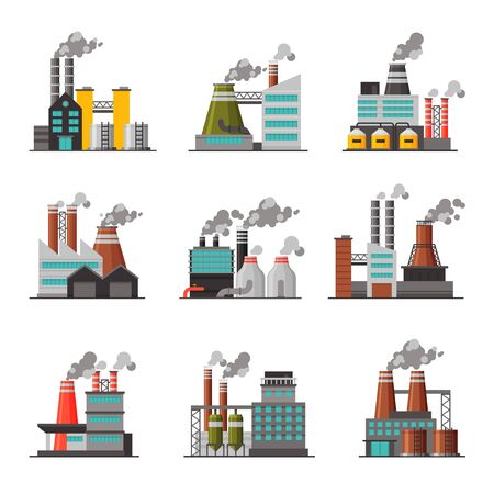 Power Plants Collection, Industrial Chemical or Refinery Factory Buildings with Smoking Chimneys Flat Vector Illustration on White Background. Vetores