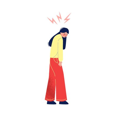 Sad Unhappy Girl in Casual Clothing with Lightning over Her Head, Depression, Stress Vector Illustration on White Background. Vektoros illusztráció