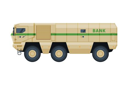 Armored Cash Truck, Currency and Valuables Transportation, Bank Security Finance Service Vector Illustration on White Background. Vector Illustration