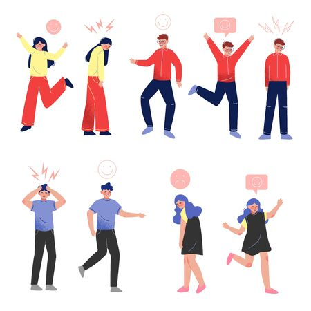 Collection of Young People in Casual Clothing with Various Emotions, Boys and Girls with Signs over Their Heads Vector Illustration on White Background.