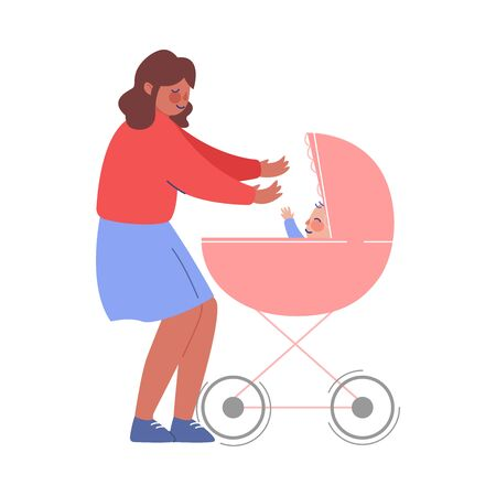 Mom ntertaining Her Baby in Pram, Young Woman Walking with Son or Daughter in Stroller Vector Illustration Illusztráció