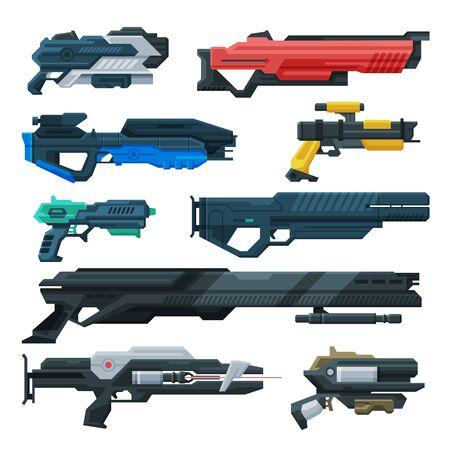 Futuristic Space Guns Blasters Collection, Fantastic Handguns, Rayguns of Alien, Childish Pistols Vector Illustration