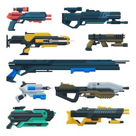Futuristic Space Guns Blasters Collection, Fantastic Handguns, Alien Weapon Vector Illustration Vektorgrafik