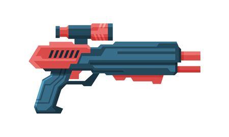 Futuristic Space Gun Blaster, Red and Black Fantastic Handgun, Raygun of Alien, Childish Pistol Vector Illustration