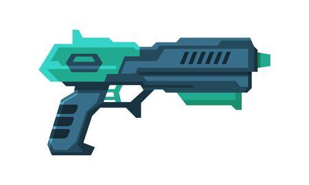 Futuristic Gun Blaster, Green and Black Space Handgun, Raygun of Alien, Childish Pistol Vector Illustration