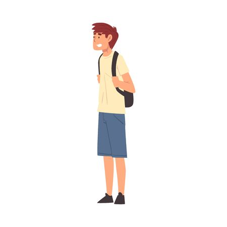 Male Tourist with Ba kpack, Smiling Young Man Travelling and Sightseeing on Vacation, Active Recreation Vector Illustration Stock Illustratie