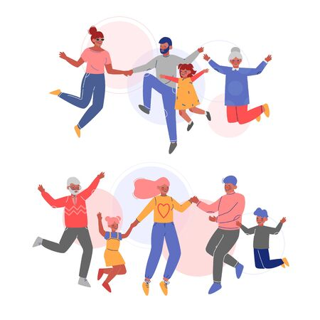 Cute Happy Families Jumping Holding Hands Set, Father, Mother and Their Children Having Fun Together Vector Illustration