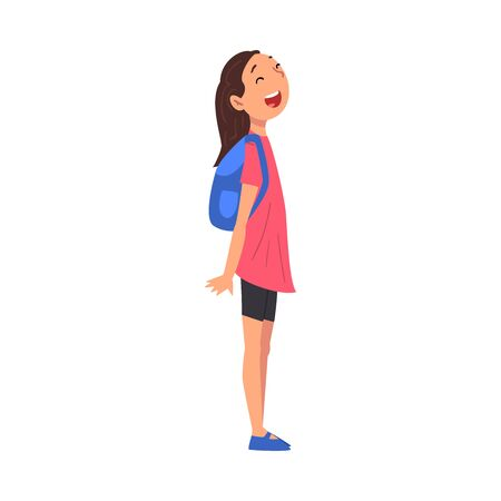 Cute Smiling Girl Standing with Backpack, Kid Travelling and Sightseeing on Vacation Vector Illustration Vettoriali