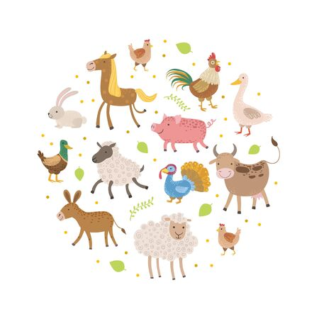 Cute Farm Animals Pattern of Round Shape, Greeting Cards, Poster, Banner, Background Design Element Vector Illustration 向量圖像