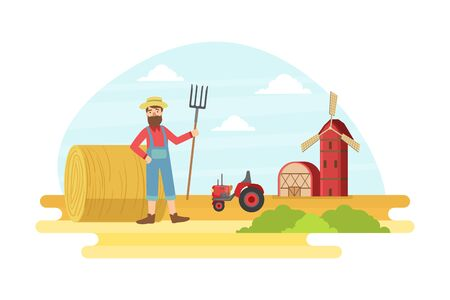 Cheerful Male Farmer with Pitchfork at Summer Rural Landscape, Agricultural Worker Working at Farm Vector illustration, Web Design. Stock Illustratie