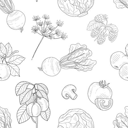 Hand Drawn Vegetables and Plants Seamless Pattern, Farm Products Design Element Can Be Used for Website, Cooking Book, Restaurant Menu, Wrapping Paper Vector Illustration Иллюстрация