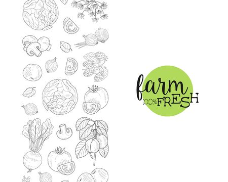 Fresh Farm Food Banner Template with Hand Drawn Vegetables and Plants Seamless Pattern Vector Illustration