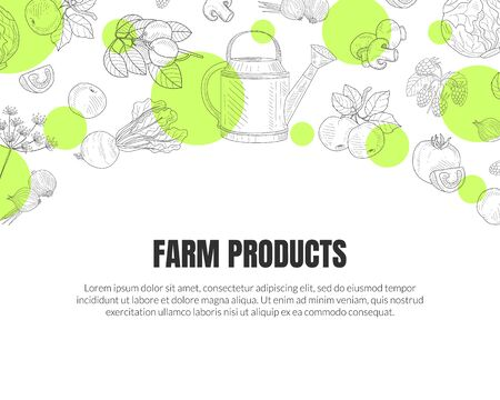 Farm Products Banner Template with Hand Drawn Vegetables Seamless Pattern Vector Illustration