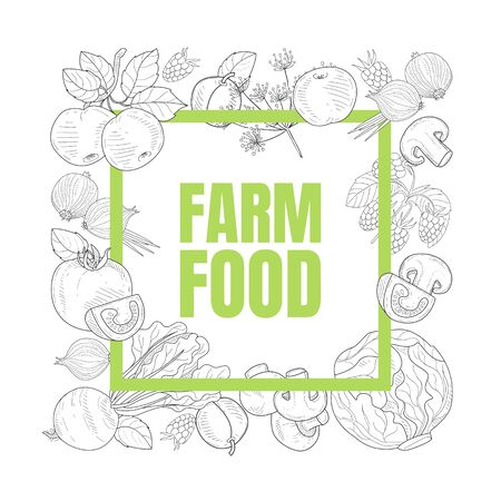 Farm Food Banner Template with Hand Drawn Vegetables Seamless Pattern Vector Illustration Иллюстрация