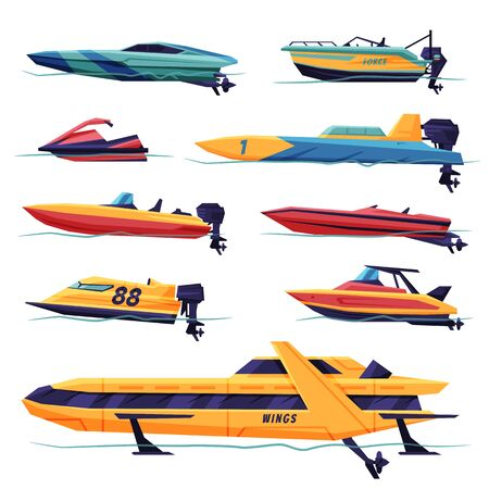 Modern Power Boats or Speedboats Collection, Motorized Water Transport, Summer Vacation Design Elements Vector Illustration Vettoriali