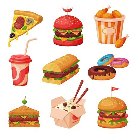Fast Food Dishes with Drinks and Desserts Collection, Unhealthy Meal Vector Illustration on White Background.