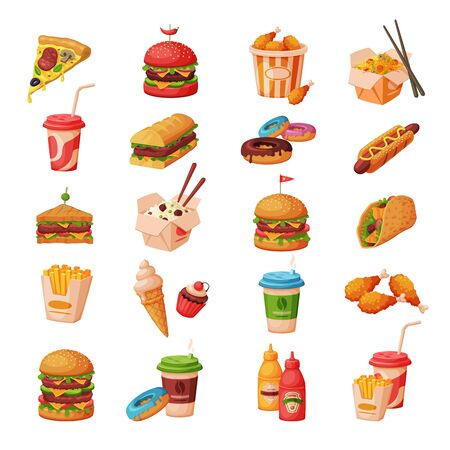 Fast Food Dishes with Drinks and Desserts Collection, Objects for Cafe or Restaurant Menu Vector Illustration on White Background.