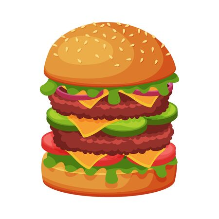 Big Hamburger with Cheese, Lettuce, Meat Patties and Bun with Sesame Seeds, Fast Food Meal Vector Illustration Illustration
