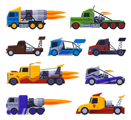 Racing Turbo Trucks Collection, Fast Heavy Freight Vehicles Flat Vector Illustration