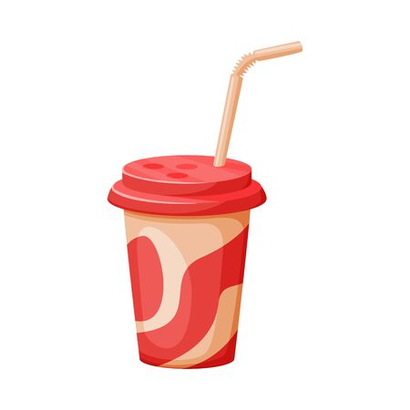 Paper Cup with Straw, Soda, Juice or Milkshake Beverage, Fast Food Vector Illustration on White Background.