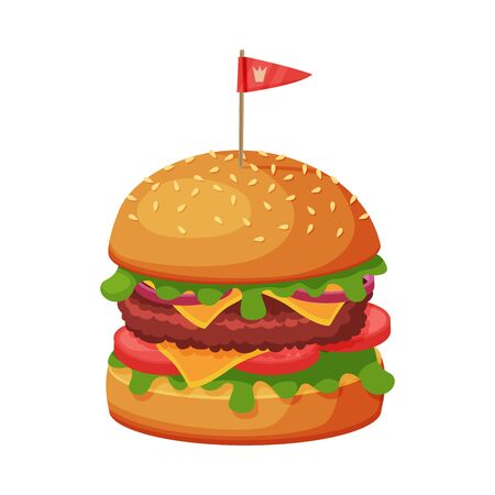 Hamburger with Cheese, Lettuce, Meat Patties and Bun with Sesame Seeds, Fast Food Meal Vector Illustration on White Background.